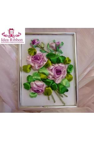 Картина из атласных лент  Ветка розы 01