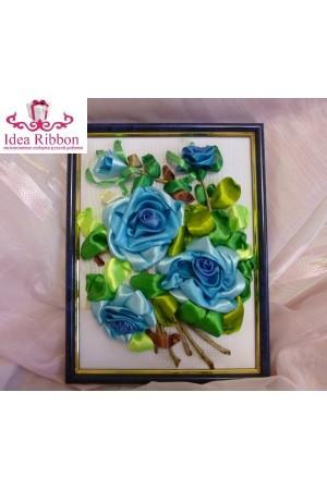 Картина из атласных лент  Ветка розы 03