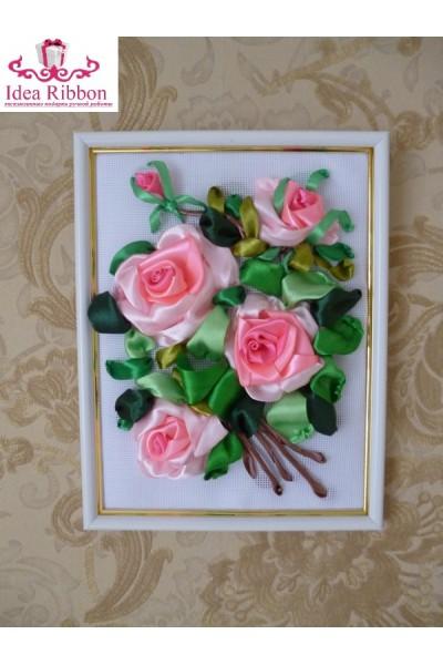 Картина из атласных лент  Ветка розы 02