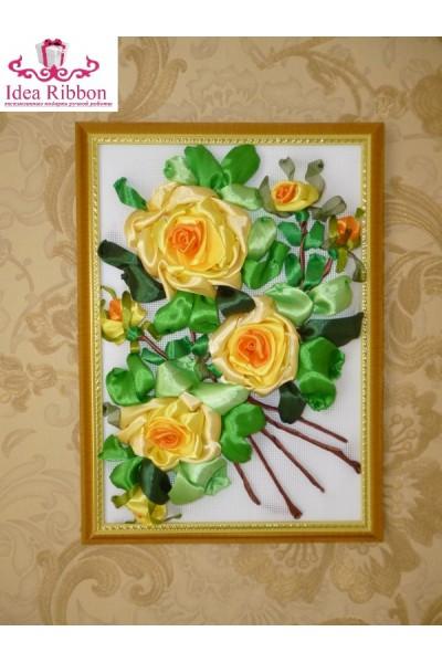 Картина из атласных лент  Ветка розы 05