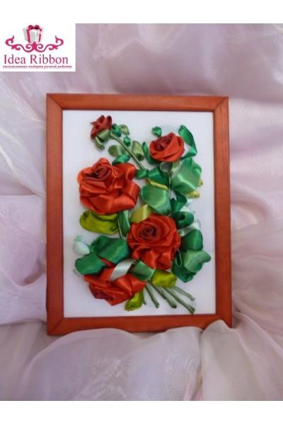 Картина из атласных лент  Ветка розы 04