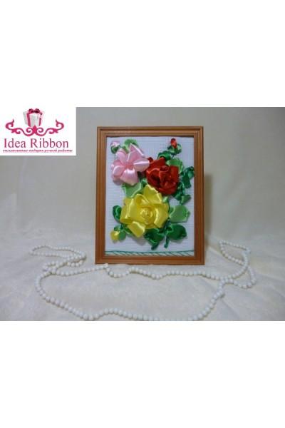 Картина из атласных лент  Ветка розы 06