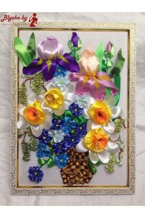 Картина из атласных лент Композиция из цветов 14
