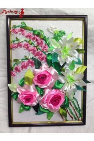 Картина из атласных лент Композиция из роз 15